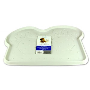 (Rosewood) Rubber Place Mat For Dogs (White/Paws)