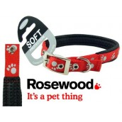 (Reflective) Soft Protection Paws Dog Collar 20 inch x 3/4 inch (Red)