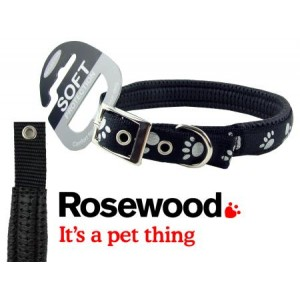 (Reflective) Soft Protection Paws Dog Collar  22 inch x 1 inch (Black)