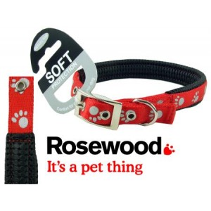 (Reflective) Soft Protection Paws Dog Collar 26 inch x 1 inch (Red)