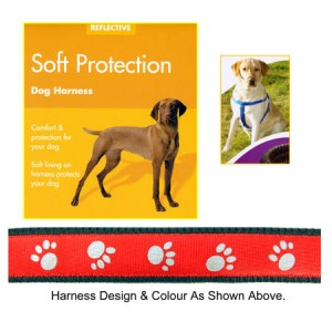 (Reflective) Soft Protection Paws Dog Harness (Small) (Red)