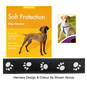 (Reflective) Soft Protection Paws Dog Harness (Large) (Black)