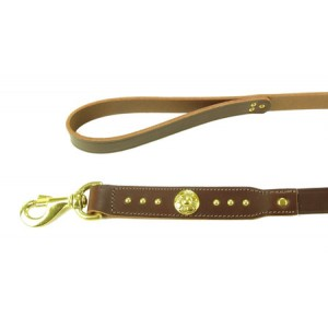 (Rosewood) Deluxe B/Terrier Dome Shield Leather Lead 39 inch x 1 inch