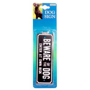 (Rosewood) Dog Sign- Beware Of The Dog Enter At Own Risk