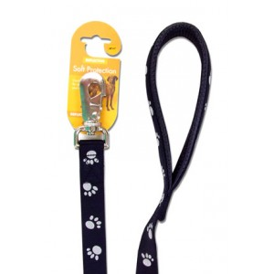 (Reflective) Soft Protection Paws Dog Lead 40 inch x 5/8 inch (Black)