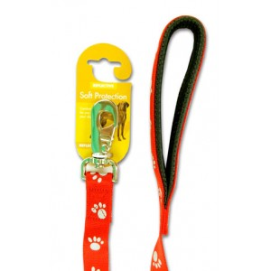 (Reflective) Soft Protection Paws Dog Lead 40 inch x 3/4 inch (Red)