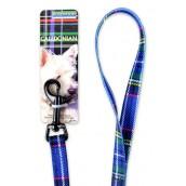 (Rosewood) Caledonian Dog Lead 40 inch x 3/8 inch (Blue)