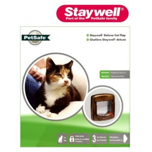 (Staywell) 4 Way Locking Cat Flap with Tunnel (Woodgrain) (320EFS)