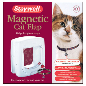 (Staywell)Magnetically Operated Cat Flap w Tunnel & Free Collar(White)