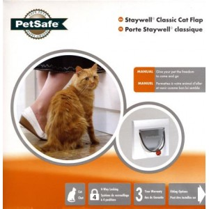 (Staywell) 4 Way Locking Cat Flap  with Tunnel (White) (917EFS)