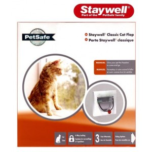 (Staywell) 4 Way Locking Cat Flap  (White) (919EFS)