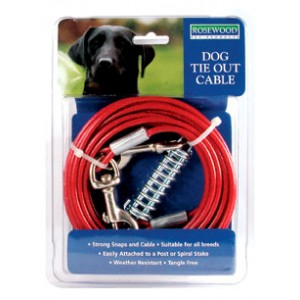 (Rosewood) Dog Tie Out Cable (10ft)