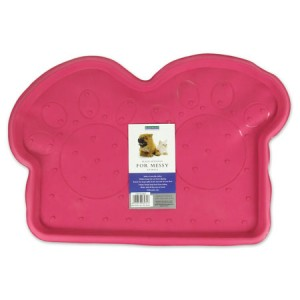 (Rosewood) Rubber Place Mat For Dogs (Pink/Paws)