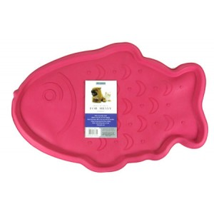 (Rosewood) Rubber Place Mat for Cats (Pink/Fish)