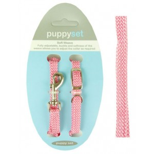 (Soft Weave) Puppy Collar & Lead Set (Pink)