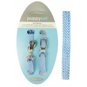 (Soft Weave) Puppy Collar & Lead Set (Blue)