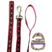 Wag'n'Walk Walk-Time Pink Heart Dog Lead Medium