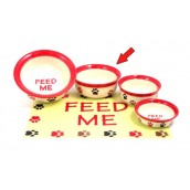 (Feed-Time) Stoneware Pet Dish 7inch (Red/Cream Multi Paw)