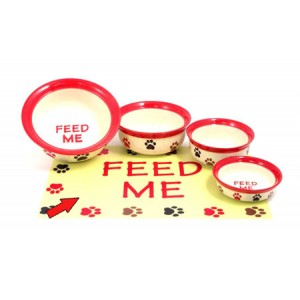 (Feed-Time) Placemat (Red/Cream Multi Paw)