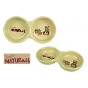 (Boredom Breaker) Naturals Stoneware Twin  Pet Dish 8inch