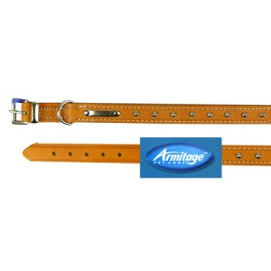 (Armitage Pet Care) Studded Sewn Leather Collar 3/4 x 18inch Med(Tan)