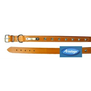 (Armitage Pet Care) Studded Sewn Leather Collar 1 1/8 x 24inch L (Tan)