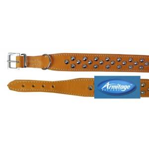 (Armitage Pet Care) Studded Sewn Leather Collar 21inch Medium (Tan)