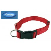 (Armitage Pet Care) Nylon Adjustable Collar 0.5 x 18inch Small (Red)
