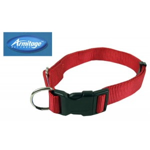 (Armitage Pet Care) Nylon Adjustable Collar 1 x 24inch Large (Red)