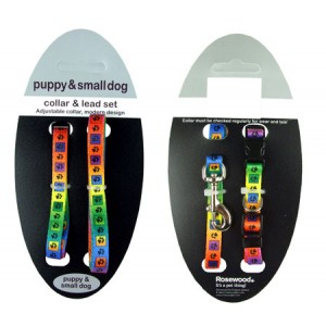 (Puppy Fashion) Puppy/Small Dog Multi Paws Collar and Lead Set