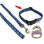 (Wag'n'Walk) Walk-Time Blue Paw Adjustable Dog Collar (Large)