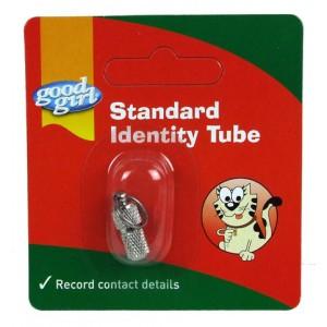 (good girl) Standard Cat Identity Tube (Silver)