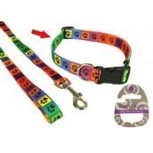 (Wag'n'Walk) Walk-Time Bright Multi Paw Adjustable Dog Collar (Large)