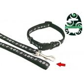 (Wag'n'Walk) Walk-Time Black/White Floral Dog Lead (Small)