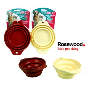 (Pet Stuff) Portable Collapsible Silicone Travel Bowl (Assorted)