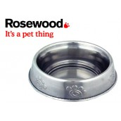 (Rosewood) Deluxe Stainless Steel Paw Print Anti-Ant Cat Dish 5inch
