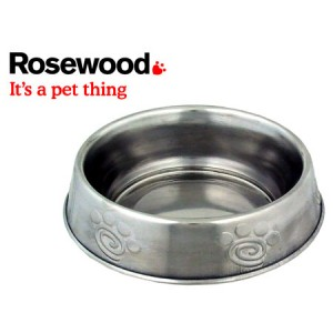 (Rosewood) Deluxe Stainless Steel Paw Print Anti-Ant Cat Dish 6inch