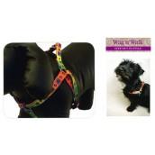 (Wag'n'Walk) Walk-Time Bright Multi Paw Dog Harness (Small)