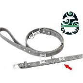 (Wag'n'Walk) Designer Faux Suede Diamante Bone Dog Collar (Small)