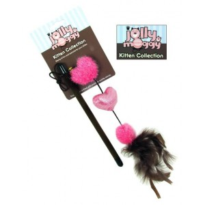 Jolly Moggy Kitten Collection Heart Cat Teaser Toy Pink