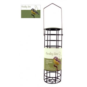 (Feeding Time) Wild Bird Deluxe Fat Ball Feeder Black Metallic Small