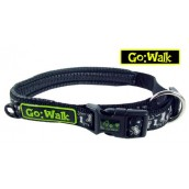 Go Walk Dog Collar Reflective Bone Black Large