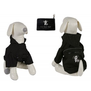 (YAP Dog) Pac-a-Yap Dog Coat Jet Black 20inch