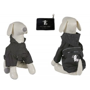 (YAP Dog) Pac-a-Yap Dog Coat Charcoal 12inch
