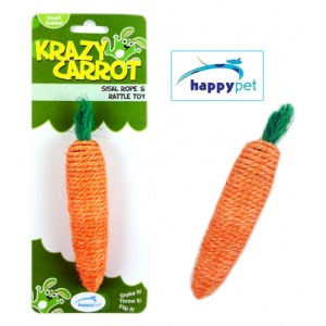(happypet) Krazy Carrot Sisal Rope and Rattle Toy
